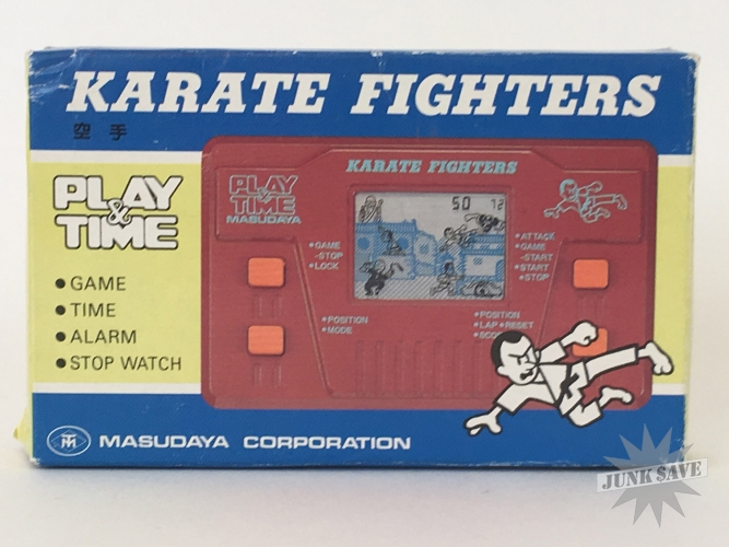 Masudaya Karate Fighters LCD Play & Time Game Watch New