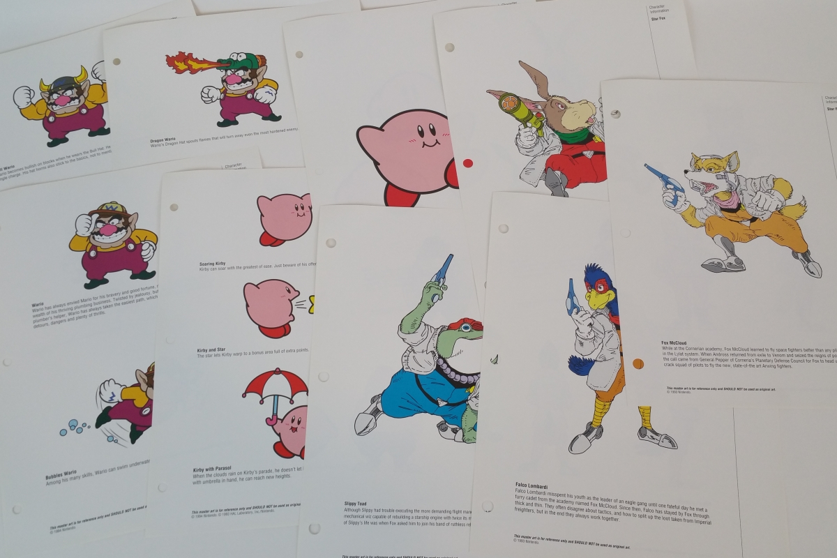 Star Fox Kirby Wario Official Nintendo Character Information Reference Sheets