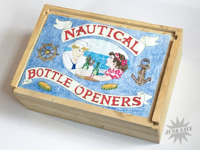 Wood Box Cast Iron Bottle Openers Sailor Jerry Nautical Theme