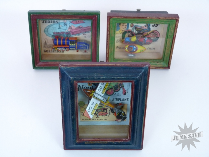 Lot 3 Tin Toys Framed Vandor Toys In The Cupboard 1997