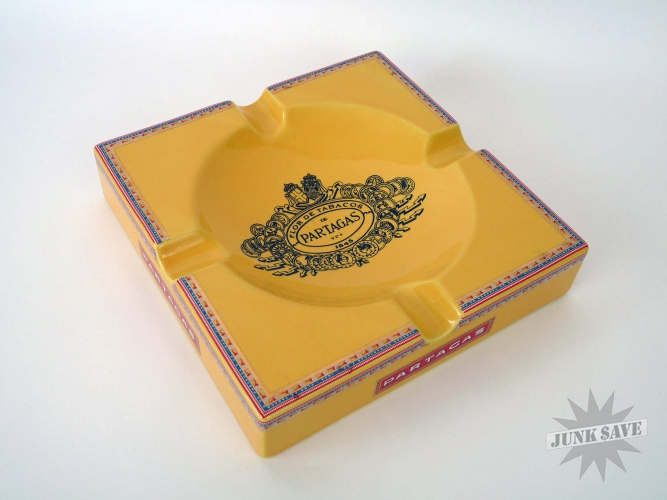 Partagas Ceramic Cigar Ashtray Large Yellow with Box