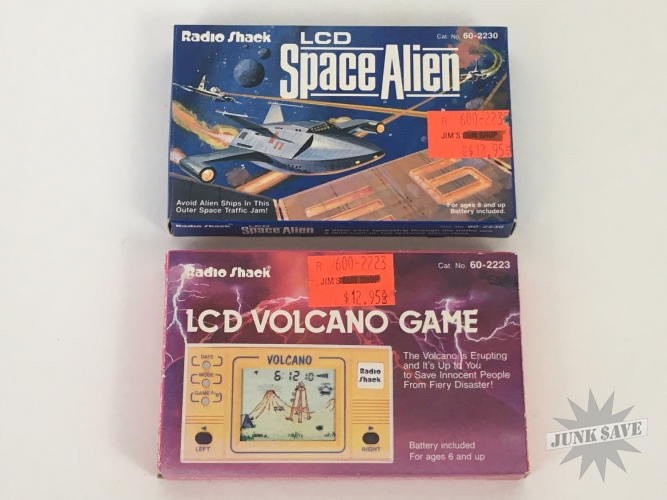 Radio Shack Lot Space Alien & Volcano LCD Game Watch New