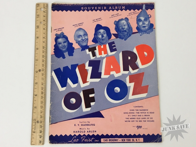 The Wizard Of Oz Souvenir Album Leo Feist 1939