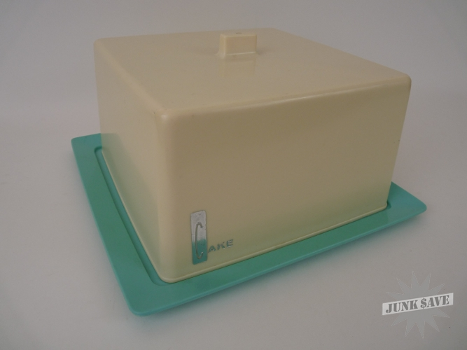 Retro Blue Plastic Cake Tray With Lid Mid Century Modern
