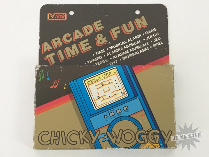 V-Tech Chicky Woggy Time & Fun LCD Game Watch Boxed