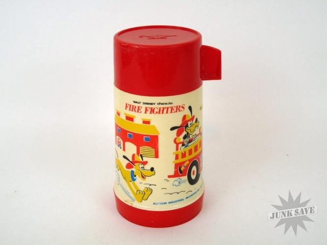 Firefighters Lunchbox Thermos Vintage Aladdin Walt Disney