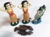 Wood Box Cast Iron Bottle Openers Hula Hawaii Tiki Bar