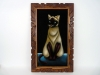 Velvet Painting House Cat Sitting Made in Mexico Meow